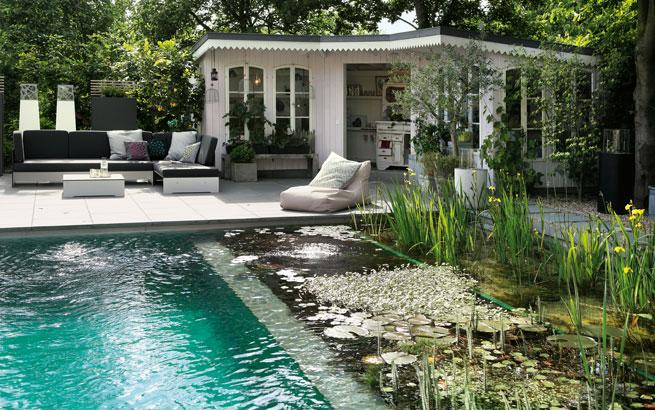 schwimmteich im garten so bauen sie ein biotop zum bahnen ziehen. Black Bedroom Furniture Sets. Home Design Ideas