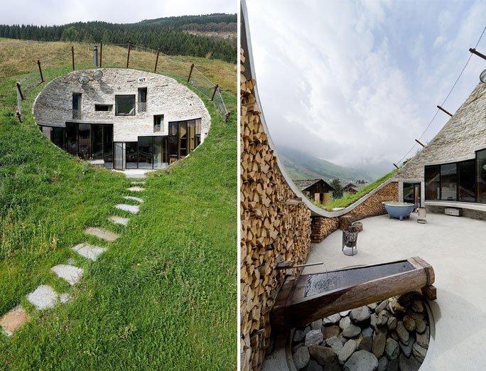 bergh tte mieten unterirdisch wohnen in der villa vals in. Black Bedroom Furniture Sets. Home Design Ideas