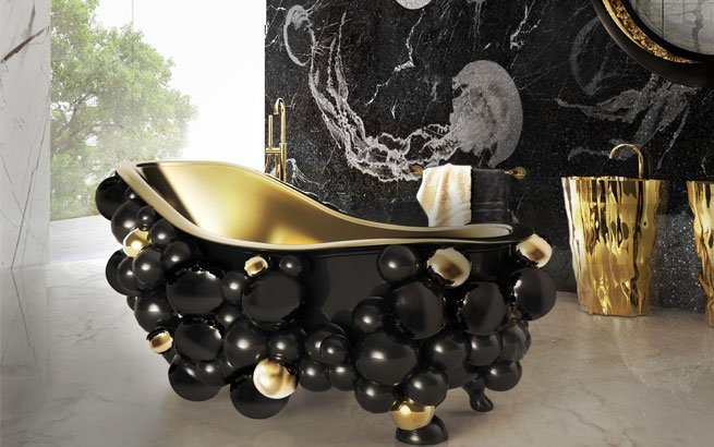 luxus badezimmer 10 inspirative ideen f r ein bad in gold. Black Bedroom Furniture Sets. Home Design Ideas