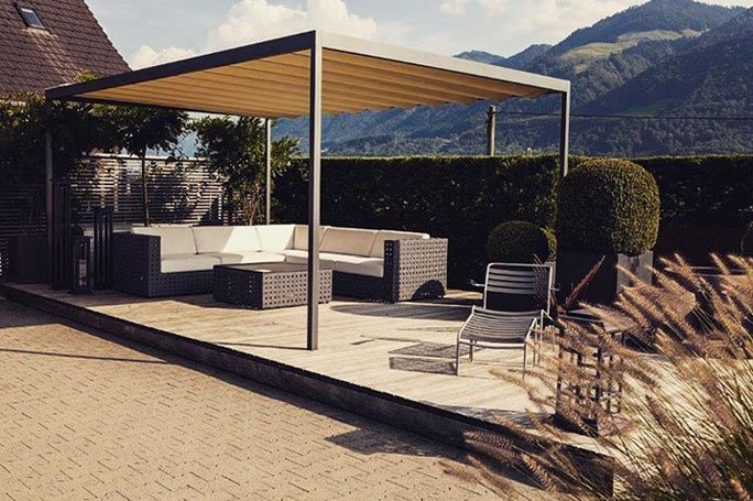 sichtschutz im garten pergola. Black Bedroom Furniture Sets. Home Design Ideas