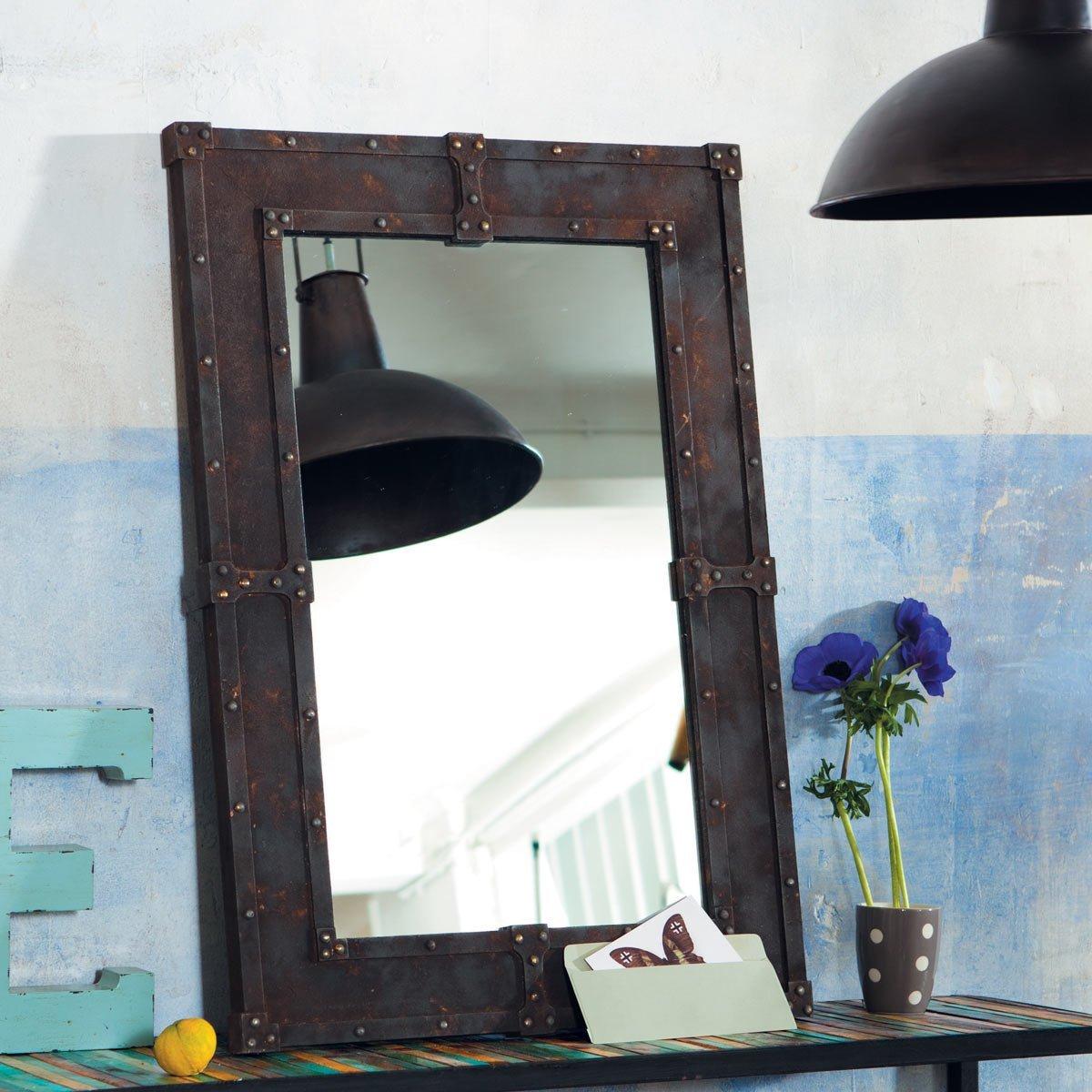 industrie chic maison du monde spiegel aus holz. Black Bedroom Furniture Sets. Home Design Ideas