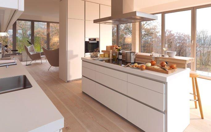 minimalistische kochinsel mit dunstabzug. Black Bedroom Furniture Sets. Home Design Ideas