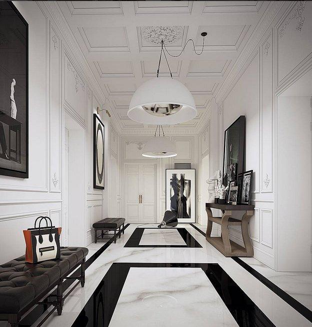 flur einrichten in schwarz weiss. Black Bedroom Furniture Sets. Home Design Ideas