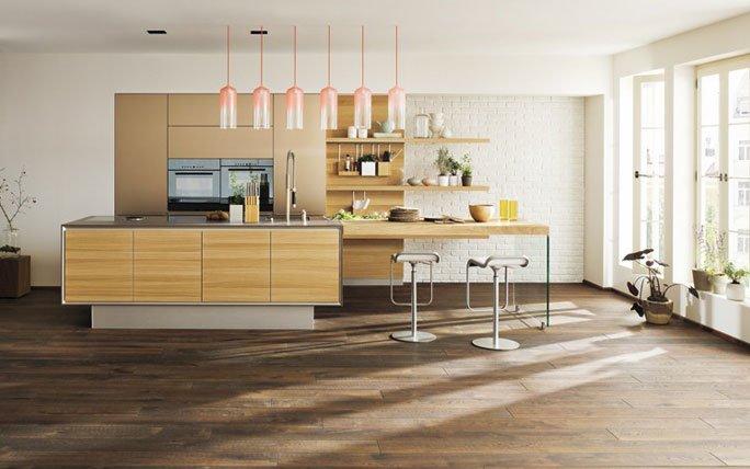 naturholz und naturstein kücheninsel mit anbautisch und glaswange