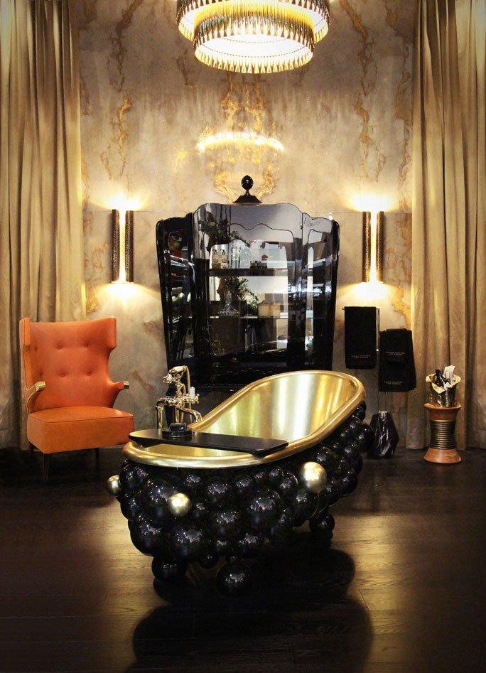 Futuristische Luxus Badewanne In Schwarz Gold