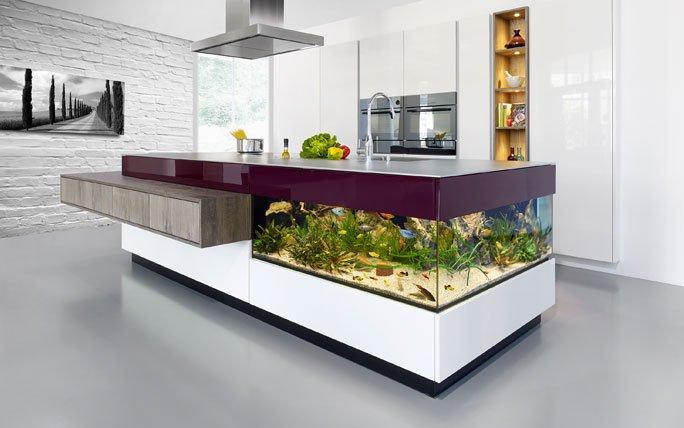 Küchen Insel aqua kücheninsel mit integriertem aquarium